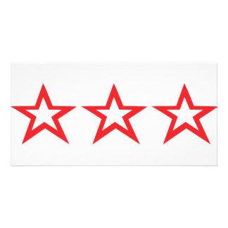 three red stars icon card