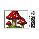 Three Red Toadstools: Original Marker Art Postage Stamp