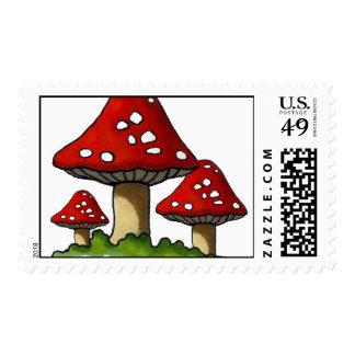 Three Red Toadstools: Original Marker Art Postage Stamp