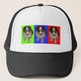 Three Red Tri Aussie Puppies Trucker Hat