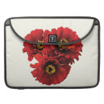 Three Red Zinnias Sleeves For MacBook Pro