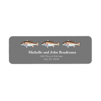 Three Redfish on Gray Label