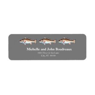 Three Redfish on Gray Return Address Label