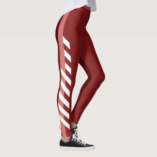 Three Reds Striped Leggings