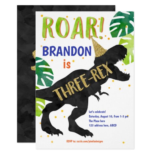 Three-rex, Dinosaur, Boy, Third Birthday Invitation