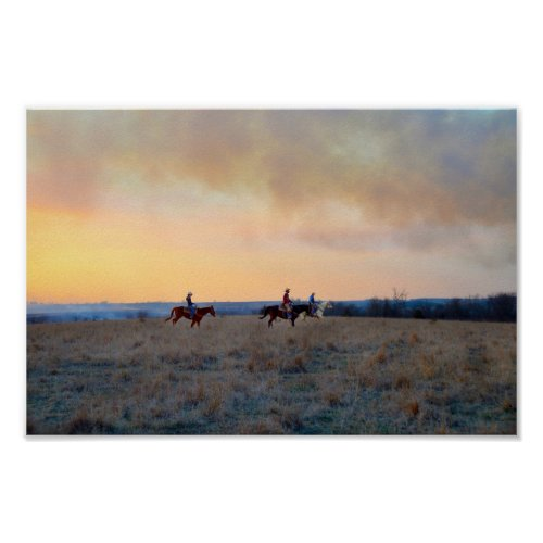 Three Riders in the Flint Hills of Kansas Poster