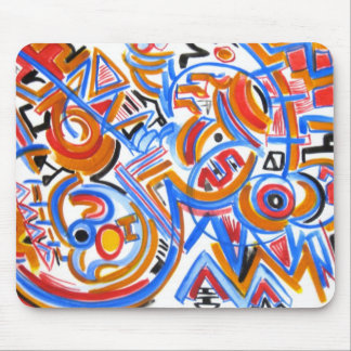 Three Ring Circus-Abstract Art Hand Painted Mouse Pad