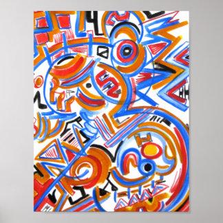 Three Ring Circus-Abstract Art Handpainted Poster