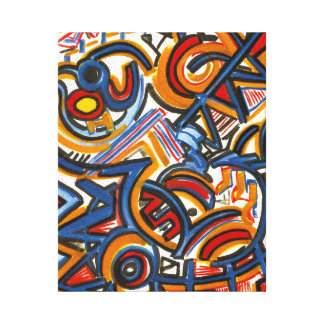 Three Ring Circus-Modern Art Colorful Handpainted Canvas Print