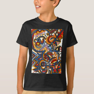 Three Ring Circus-Modern Art Colorful Handpainted T-Shirt