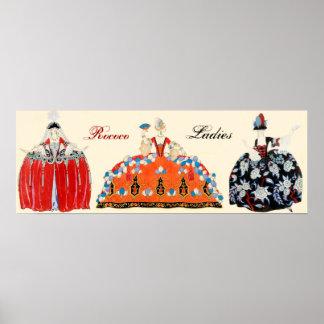 THREE ROCOCO LADIES,BEAUTY,FASHION COSTUME DESIGN POSTER