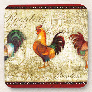 Three Roosters Beverage Coaster