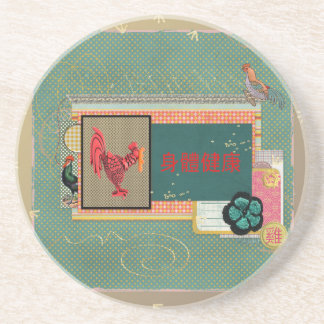 Three Roosters, Happy New Year in Chinese, Sign of Coaster