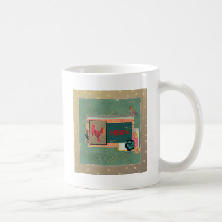 Three Roosters, Happy New Year in Chinese, Sign of Coffee Mug