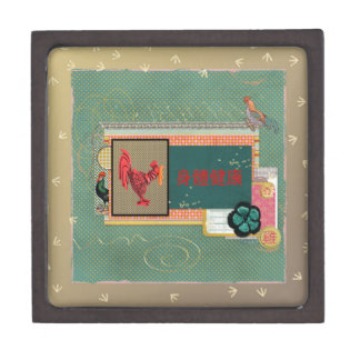 Three Roosters, Happy New Year in Chinese, Sign of Keepsake Box