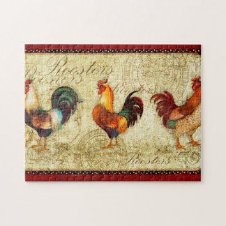Three Roosters Jigsaw Puzzle
