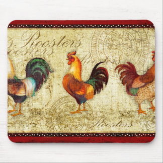 Three Roosters Mouse Pad