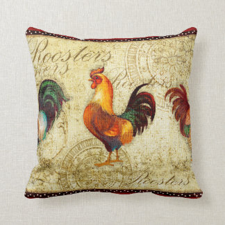 Three Roosters Throw Pillows