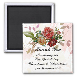 Three Rose Floral Wedding Bomboniere Thank You Magnet