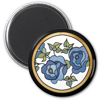Three Roses 01 Blue 2 Inch Round Magnet