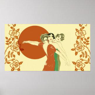 THREE ROSES, Art Deco Ladies: SUMMER SUNSHINE Poster