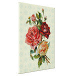 Three roses on Vintage pastel green pattern canvas Gallery Wrapped Canvas