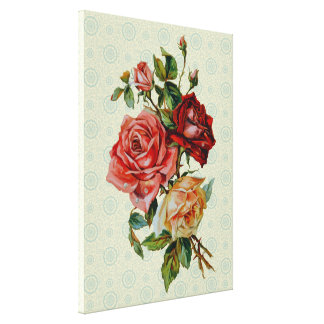Three roses on Vintage pastel green pattern canvas