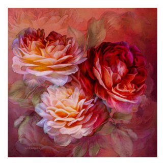 Three Roses - Red - Fine Art Poster