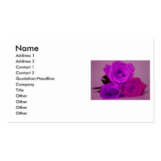 Three roses, tinted purple on a purple back business card