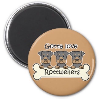Three Rottweilers 2 Inch Round Magnet