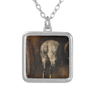 Three rumps of horses by Theodore Gericault Square Pendant Necklace