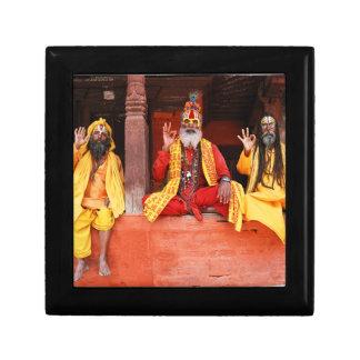 Three Saddhus Sitting on the Vishnu Temple Nepal Gift Box