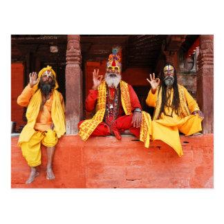 Three Saddhus Sitting on the Vishnu Temple Nepal Postcard
