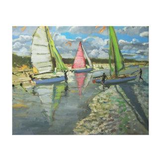 Three Sailboats Bray Dunes France Canvas Print