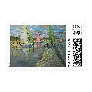 Three Sailboats Bray Dunes France Postage