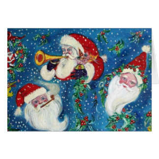 THREE SANTA /  CHRISTMAS NIGHT GREETING CARD