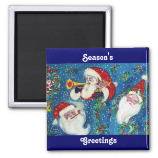 THREE SANTA MAGNET