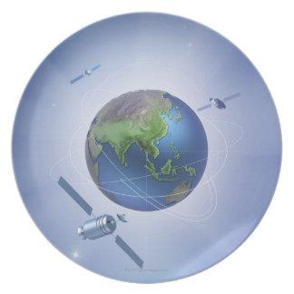 Three Satellites Dinner Plate