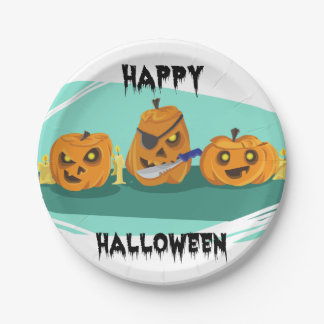 Three Scary Pumpkins – For Kids Paper Plate