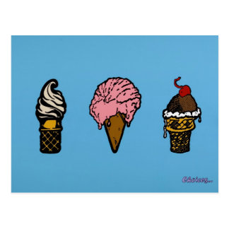 """""""THREE SCOOPS"""" POST CARDS"""