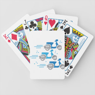 three scooters moped race bicycle playing cards
