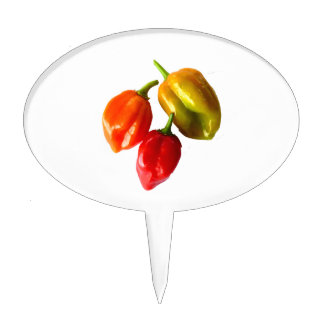 Three Scotch Bonnet Peppers Red Orange Yellow Cake Topper