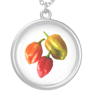Three Scotch Bonnet Peppers Red Orange Yellow Pic Round Pendant Necklace