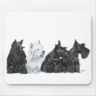 Three Scotties & a Westie Mouse Pads
