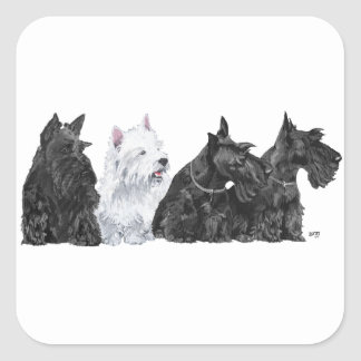 Three Scotties & a Westie Square Sticker