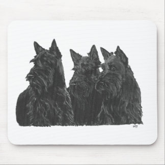 Three Scottish Terriers Mouse Pad