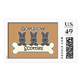 Three Scottish Terriers Postage