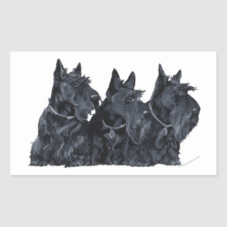 Three Scottish Terriers Rectangular Sticker