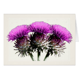 Three Scottish Thistles Card