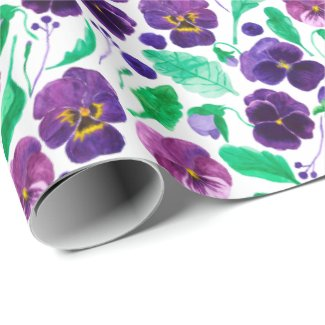 Three Shade Watercolor Pansies Wrapping Paper